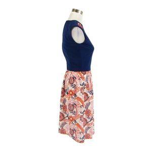 Dresses - Blue orange A-line vintage dress XS